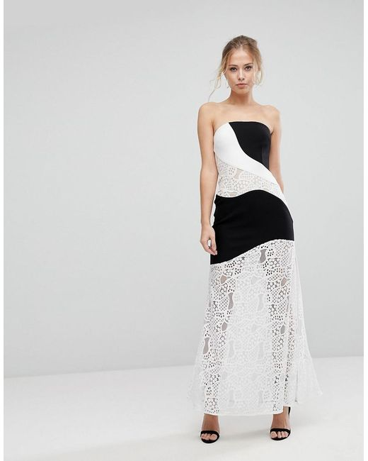 Aijek - Multicolor Maxi Dress With Monochrome And Lace Detail - Lyst