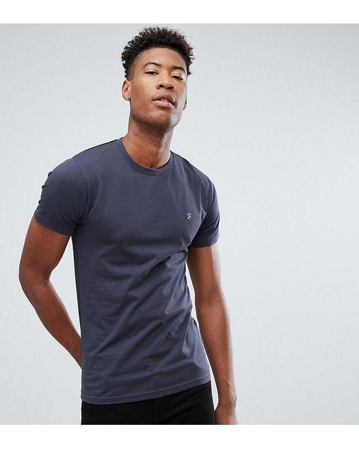 Lyst farah tall farris slim fit t shirt in navy in blue for Slim fit tall shirts