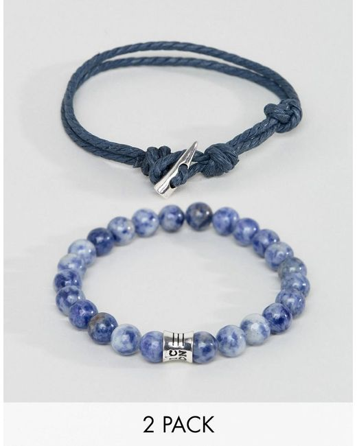 Icon Brand | Blue Woven & Beaded Bracelets In 2 Pack for Men | Lyst