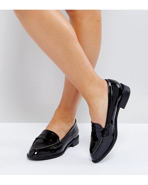 3833f08eae34 ASOS - Black Asos Munch Wide Fit Loafer Flat Shoes - Lyst ...