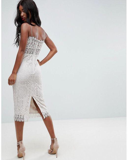 9b7f5547176de ... ASOS - White Asos Lace Cami Midi Pencil Dress - Lyst
