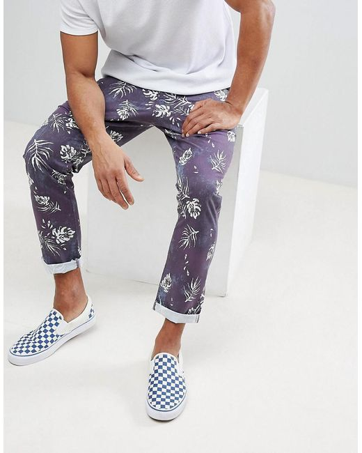 ASOS - Blue Slim Cropped Trousers In Vintage Washed Out Leaf Print for Men - Lyst