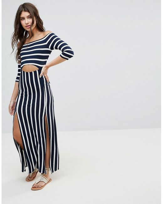 ASOS | Blue Bardot Maxi Dress With Cut Out In Stripe | Lyst