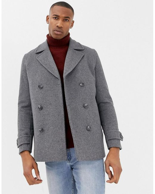 ASOS - Gray Wool Mix Peacoat In Light Grey for Men - Lyst