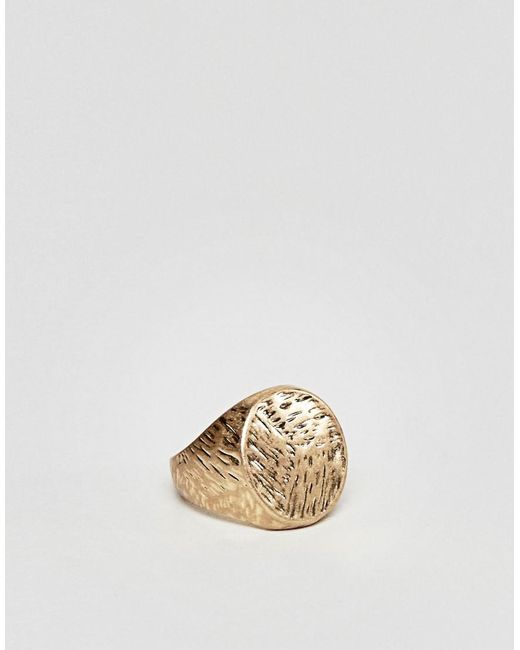 ASOS   Metallic Signet Ring With Hammered Effect for Men   Lyst
