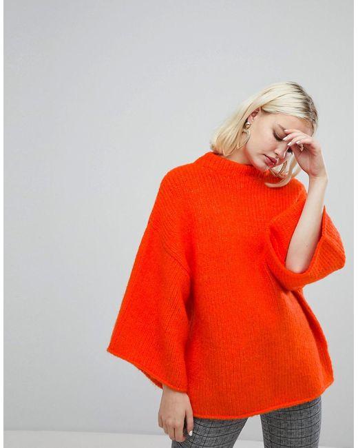 Monki - Orange High Neck Wide Sleeve Sweater - Lyst