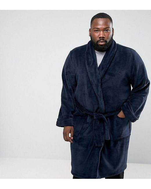 French Connection Plus Fleece Dressing Gown in Blue for Men - Lyst