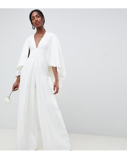 c214ac2ab52 ASOS - White Asos Edition Tall Cape Wedding Jumpsuit - Lyst ...
