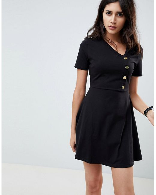 b10e3b3ddbfb ASOS - Black Mini Skater Dress With Button Front - Lyst ...