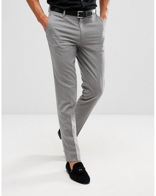 a60677c0aada ASOS Skinny Smart Pants In Gray in Gray for Men - Lyst