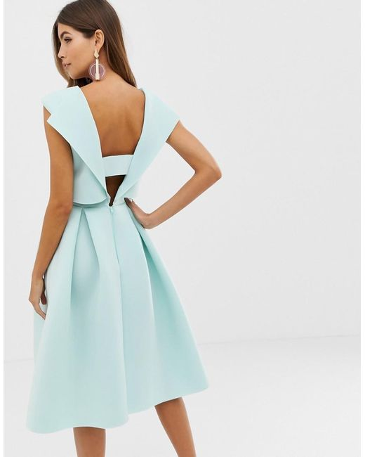 bfa09043233d ... ASOS - Green Fold Back Crop Top Midi Prom Dress - Lyst