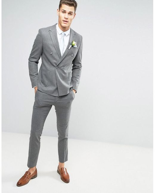 Asos Wedding Skinny Suit Double Breasted Jacket In Grey Micro ...