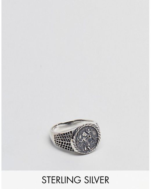 ASOS | Metallic Sterling Silver Sovereign Ring With St Christopher Design | Lyst