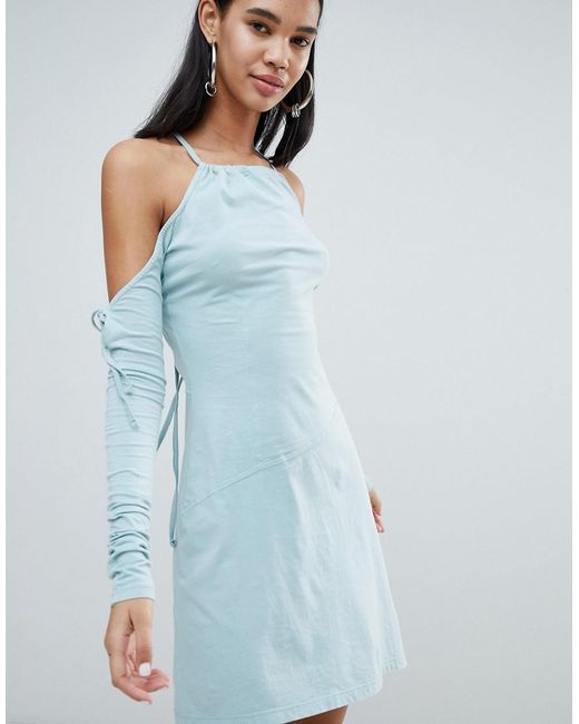 Weekday - Blue Limited Edition Criss Cross Back Asymmetric Dress - Lyst
