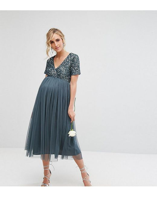 Maya Maternity - Blue Cap Sleeve Midi Dress In Tonal Delicate Sequin With Tulle  Skirt ...