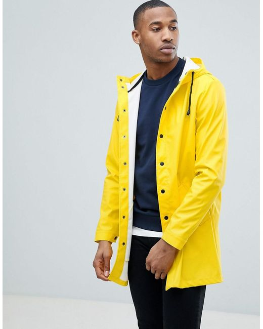 ASOS - Shower Resistant Rain Coat In Yellow for Men - Lyst