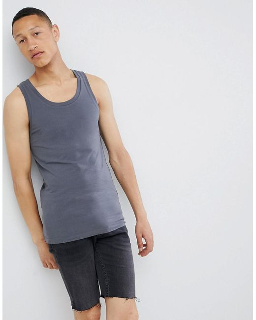 ASOS - Gray Muscle Fit Vest In Grey for Men - Lyst