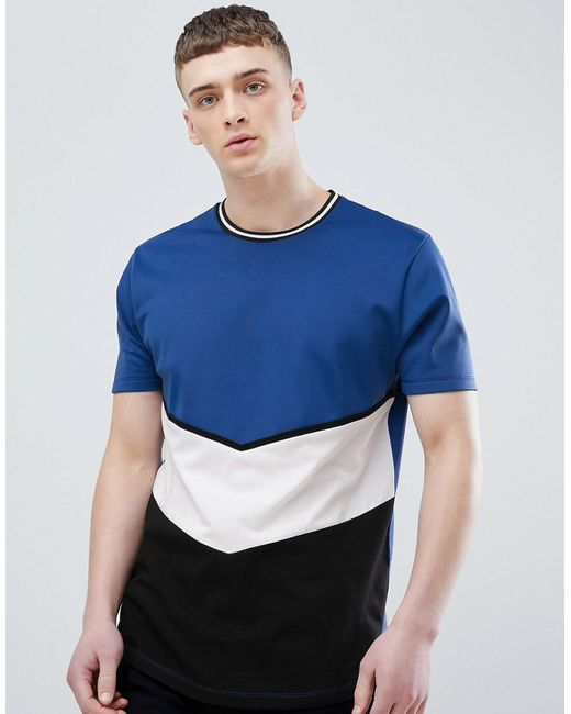 ASOS - Blue Relaxed Longline T-shirt With Colourblock In Polytricot for Men - Lyst