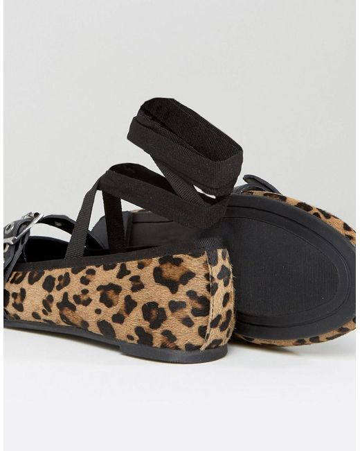 Leopard Leather Strap Ballerina - Brown Park Lane