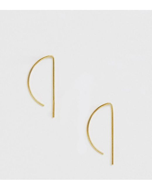 ASOS - Metallic Sterling Silver With Gold Plate Pull Through Earrings In Curved Design - Lyst