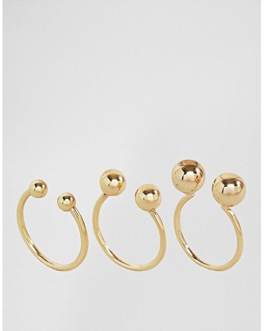 Monki | Metallic 3 Pack Sphere Rings | Lyst