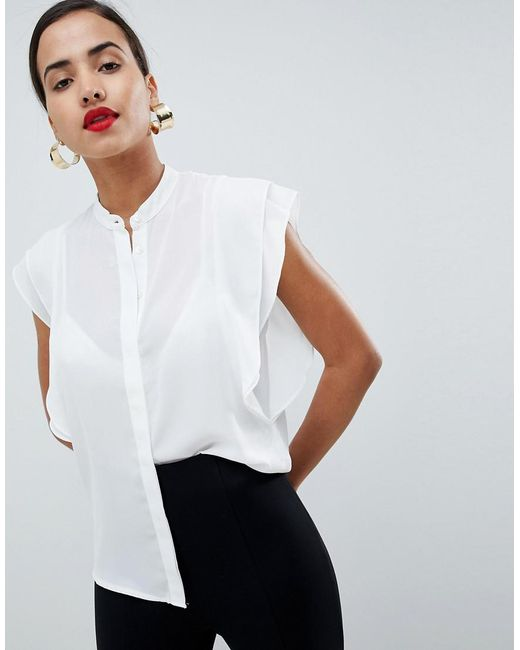 ASOS DESIGN - White Blouse With Frill Shoulder - Lyst