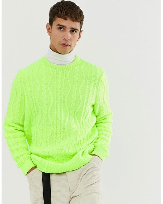 7fd83f8f1 ASOS Oversized Cable Knit Jumper In Neon Green in Green for Men - Lyst