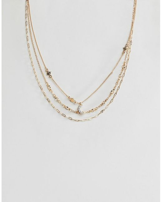ASOS - Metallic Pack Of 3 Necklace With Jewel Moon And Star In Gold - Lyst