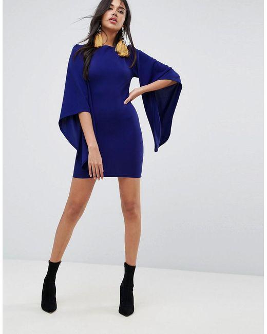 Extreme Frill Sleeve Long Sleeve Dress - Cobalt AX PARIS sksdpxI