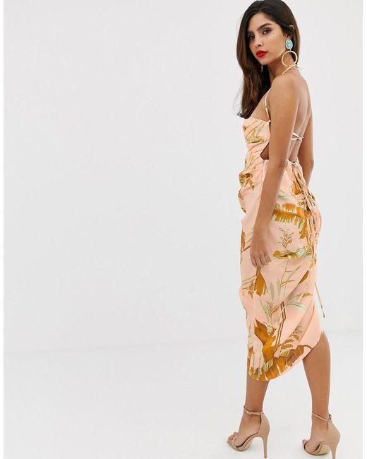 776f6553c234 ... ASOS - Multicolor Printed Strappy Back Midi Dress - Lyst