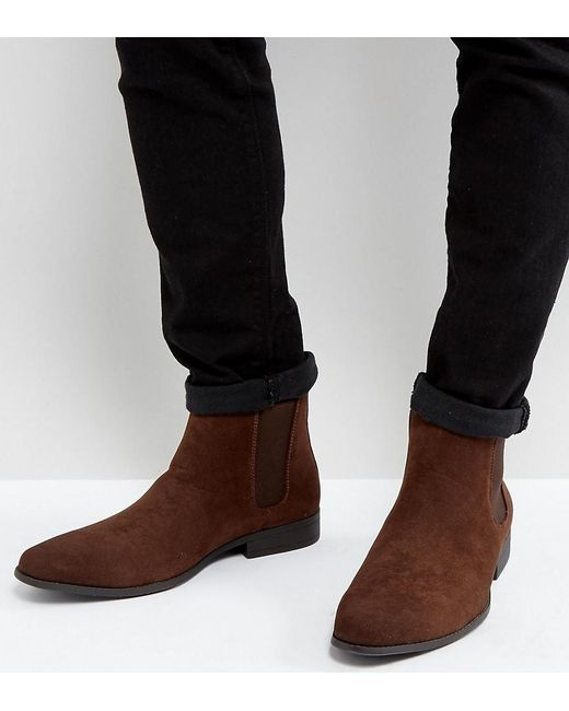 hot sale online ASOS Chelsea Boots in Brown Faux Suede exclusive for sale outlet pay with visa cheap discount authentic VzuEqBsF