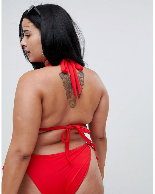 56df9f14a37 ... ASOS - Red Asos Design Curve Recycled Triangle Bikini Top - Lyst