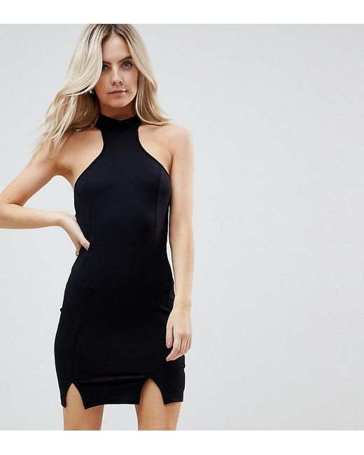 ASOS - Black Choker Neck Mini Bodycon Dress With Splits - Lyst