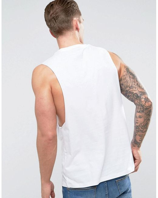 c0fbc65b2054 ... ASOS - Sleeveless T-shirt With Dropped Amrhole In White for Men - Lyst
