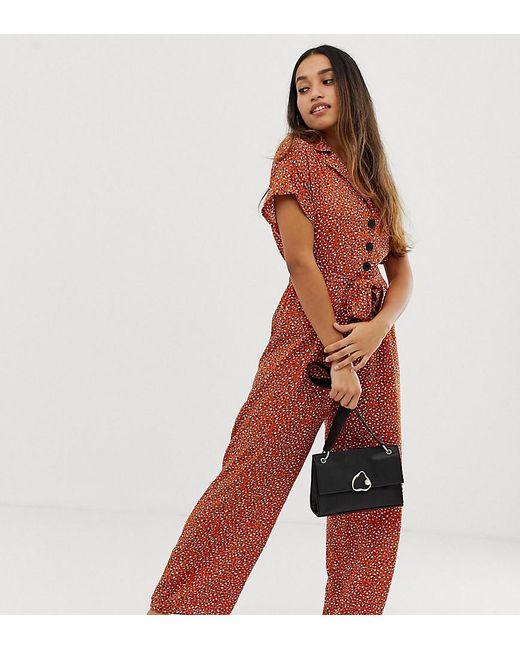 34f56f0d0b8 Miss Selfridge - Brown Utility Jumpsuit In Animal Print - Lyst ...