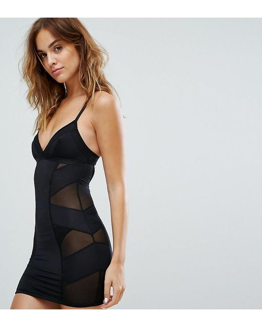 5879da11f New Look - Black Solutions Shaping Slip Dress - Lyst ...