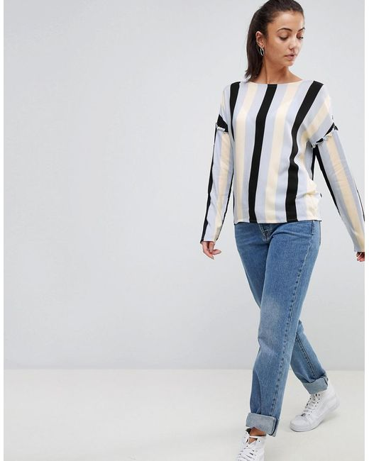 Stripe Blouse With Frill Detail - Multi Noisy May Sneakernews For Sale Excellent Sale Online RfCPu