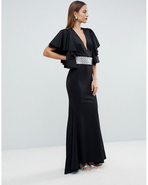 Lyst Asos Red Carpet Deep Plunge Scuba Ruffle Sleeve Maxi Dress