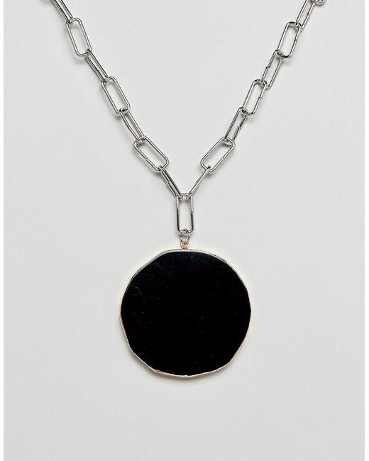 ASOS - Metallic Necklace With Statement Semi Precious Stone Pendant In Silver - Lyst
