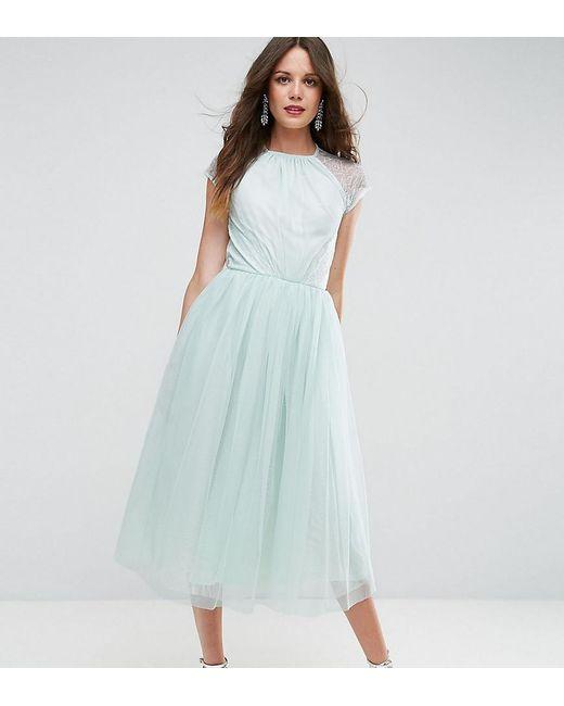 ASOS | Green Premium Lace Tulle Midi Prom Dress | Lyst