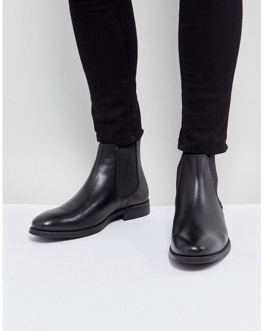 Dune - Chelsea Boots In Black Leather for Men - Lyst
