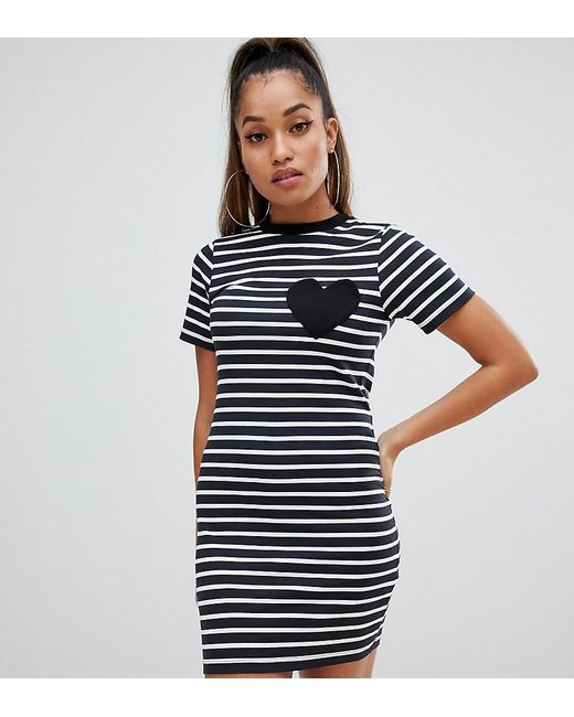 a7ad2f57408 ASOS - Blue Asos Design Petite Mini Bodycon Stripe T-shirt Dress With Heart  Pocket ...