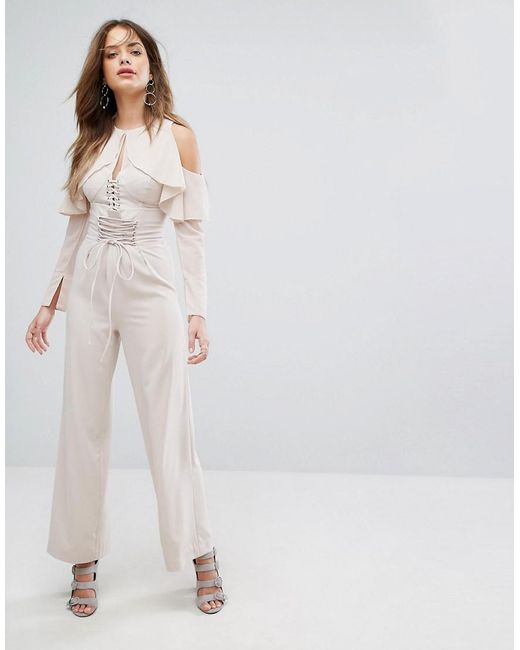 Lavish Alice | Pink Nude Lace Up Wide Leg Pants | Lyst