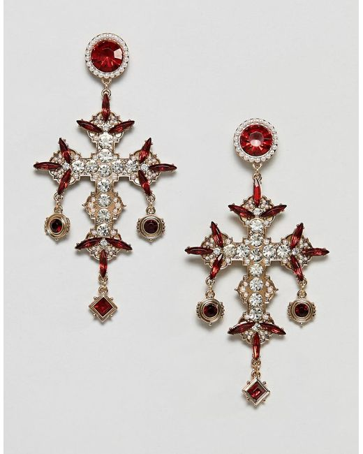 ASOS - Metallic Earrings In Vintage Cross Design With Jewels And Pearls In Gold - Lyst