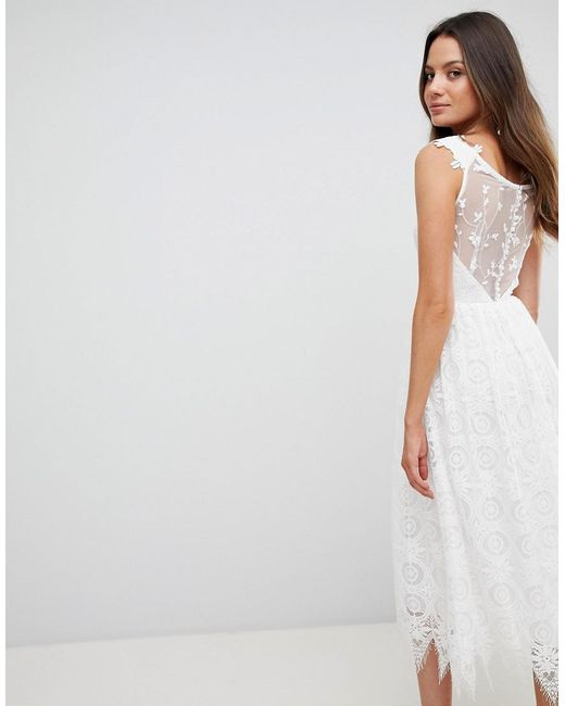 8751bb839424 ... Y.A.S - White Off Shoulder Delicate Lace Midi Dress - Lyst