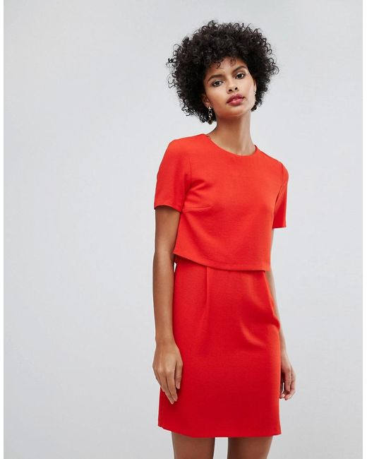 Warehouse - Red Double Layer Shift Dress - Lyst