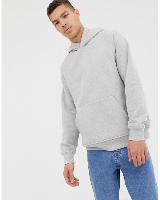 ASOS - Gray Oversized Hoodie In Heavyweight Light Grey Marl Jersey for Men - Lyst