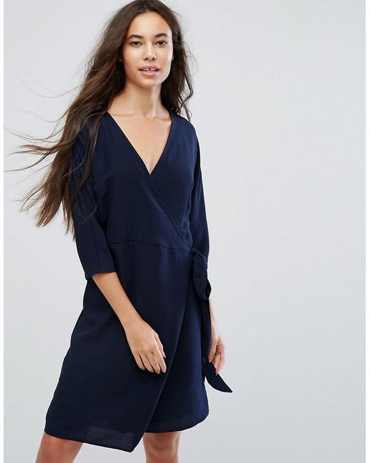 B.Young | Blue Wrap Front Dress | Lyst