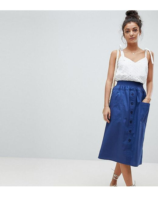 ASOS - Blue Asos Design Tall Cotton Midi Skirt With Button Front - Lyst