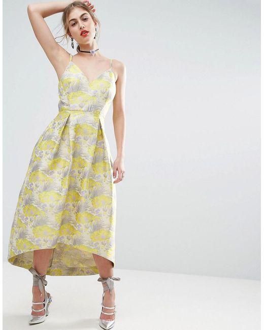 ASOS | Purple Salon Beautiful Floral Jacquard Midi Prom Dress | Lyst